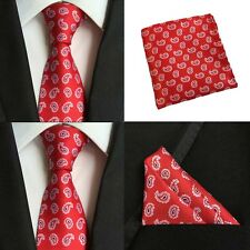 Men Red Paisley Silk Neckties Pocket Square Handkerchief Hanky Set Lot HZBWT0075