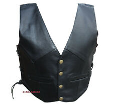 New Kids Boys/Girls Real Leather Black Side Laced Up Biker Style Waistcoat/Vest
