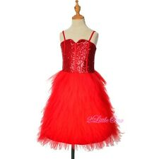 Glitz Sequins Tulle Dress Flower Girl Pageant Occasion Party Red Size 2T-14 #305
