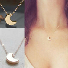 Women Silver Gold Chain Crescent Moon Pendant Necklace delicate Jewelry CHI