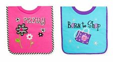 TENDER KISSES BABY GIRL'S  SET OF 2 PULLOVER  BIBS ( PRETTY & BORN TO SHOP )