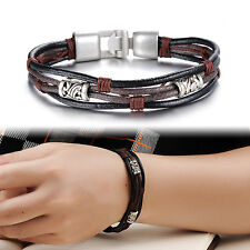 Men's Genuine Leather Stainless Steel Braided Cuff Bangle Bracelet Wristband CHI
