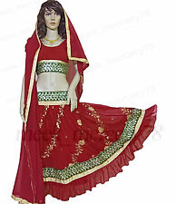 Bollywood Dancing Skirt top set With Veil Chimki work Embroidered Belly Dancing