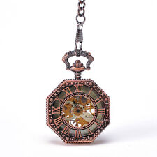 Rose Gold Men Women Hexagon Hollow Skeleton Pocket Watch Roman Numbers Cover New