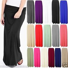 New Ladies Pleated Fold Over Waist Jersey Maxi  Long Length Viscose Gypsy Skirt