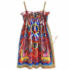Toddler Girl Carretto Siciliano Flower Dress Kids Tank Dress Party Pageant Beach