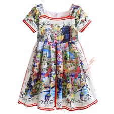 Toddler Kids Girl Flower Dress Summer Cotton Silk Princess Party Pageant Clothes