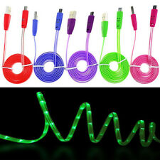 New Flashing LED Light Smile Face Micro USB Charger Data Sync Cable For Samsung
