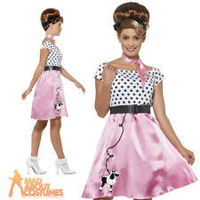 Adult 1950s Poodle Dress Rock and Roll Costume Ladies Fancy Dress Outfit New