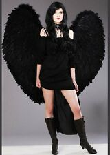 Womens Gothic Black Fallen Angel Costume with Wings
