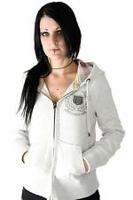 Lucky 7 Ladies Ivory Heather Gray Zip Up Crest Warm Stretchy Hoodie $91.00 CAD