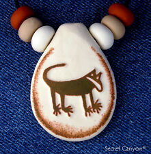 ~PETROGLYPH~ Cougar Mountain Lion Native American Pendant Handmade With Beads