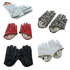 New Women Faux Leather Five Finger Half Palm Gloves SI
