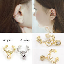Hot Gold/Silver Plated Ear Cuff Wrap Crystal Cartilage Clip Earring Jewelry Gift