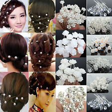 20/40Pcs Rose Flower Crystal Wedding Party Bridal Prom Star Hair Pin Clips Newly