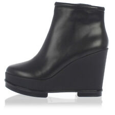 ROBERT CLERGERIE New woman Black Wedge Boot Shoes Leather Made in France