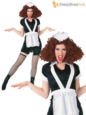 Ladies Magenta Costume Adults Rocky Horror Fancy Dress Womans French Maid Outfit
