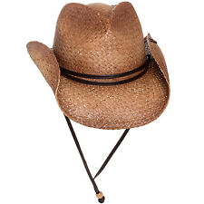 PETER GRIMM NEW Mens Tea Stained Straw Round Up Cowboy Hat w/ Leather Chin Strap