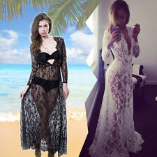 Sexy Women's Deep V Neck Perspective Sheer Lace Floral Beach Cover Up Long Dress