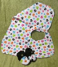 3 Pc. Layette Set Infant Bibs, Burp Cloth, and Slippers (crib shoes) group b