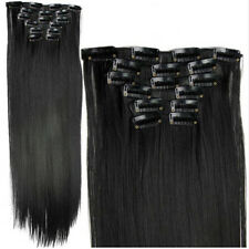 24inch Long Straight Hairpiece Clip in Hair Extensions Synthetic Heat Resistent