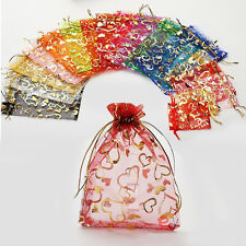 Heart 50PCS Organza Wedding Xmas Party Favor Gift Candy Bags Jewelry pouch 7*9cm