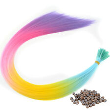 20'' Lot Cosplay Dyed Mixed Colorful Synthetic I Tip Feather Hair Extensions
