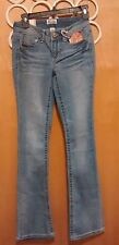 NWT $40 Juniors Mudd Light Blast Skinny Bootcut Jeans Size 0 Embroidered Pockets