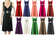 New Womens Ladies Short Buckle Evening Midi Bridesmaid Dress Plus Size 16-26