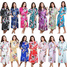 Women's Peacock Sleepwear Bride Kimono Robe Satin Night Dress Gown CHRISTMAS