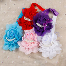 Baby Girl Kids Chiffon Pearl Headband Rose Flower Hairband Photography Prop WS