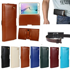 Genuine Leather Belt Loop Clip Waist Holster Case for Samsung Galaxy S6 S7 edge