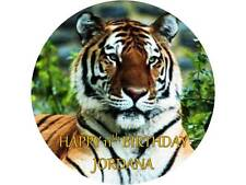 "7.5"" ROUND TIGER PERSONALISED EDIBLE CAKE TOPPER  ICING OR WAFER PAPER"