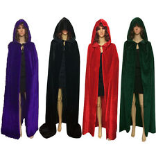Velvet Hooded Cloak Medieval Wedding Robe Wicca Cape Halloween Vampire Gothic UK