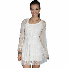Scully Womens Scoop Neck Long Sleeve Ivory Lace Dress