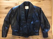 Vintage Paco Barron Genuine Leather Jacket Black Womens Small