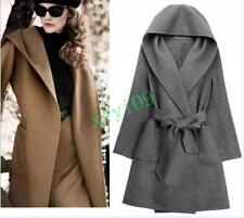 Fashion Womens Hot Hooded Trench Long Cardigan Belt Peacoat Windbreaker Overcoat