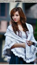 100% Real Knitted Mink Fur Poncho Cape Stole Shawl Coat Handmade frilling -