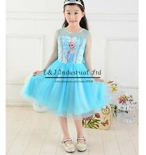 Girls Disney Elsa Print Frozen Dress Costume Blue Princess Party Pageant 3-7Y