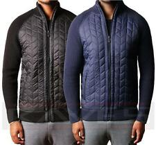 Mens Dissident Quilted Zip Cardigan Jumper Cotton Knitted Sweater Finneran