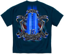 We Will Never Forget 15th Anniversary 9-11 Firefighter New Navy Blue T-Shirt
