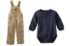 NWT OshKosh Overalls and Bodysuit 2-Pc Outfit Khaki or Gray 6 9 12 24 Months $56