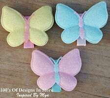 3x Baby Toddler Girls Hair Clip Large Glitter Butterfly Sparkle Mint Pink Yellow