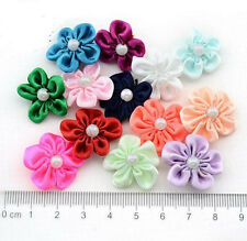 DIY 50-100PCS Satin Ribbon Flower with  Bead Appliques~Craft/Trim