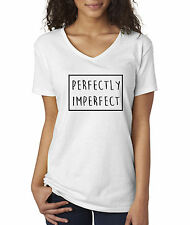 allwitty 1046 - Women's V-Neck Perfectly Imperfect Box Outline