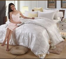 100% Mulberry Silk Filled Cotton Satin Jacquard Comforter Blanket Quilt WHITE