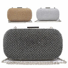 Ladies Designer Diamante Clutch Bag Box Evening Bag Glittery Handbag Purse M2059