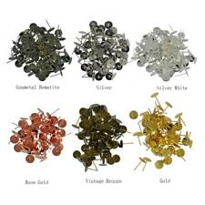 100pcs 8mm Blank Pad Stud Earring Post Pin Jewelry Making Findings-6 Colors