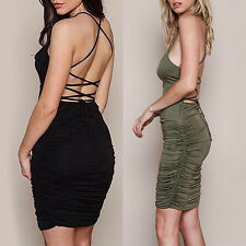 Women's Summer Lace Up Dress Party Pleated Sling Stretch Dress Gratifying