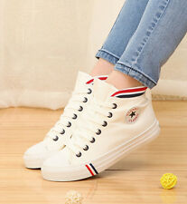 Women Chic High Top Lace Up Flat Heels Canvas Shoes Girls Spring Sneakers small